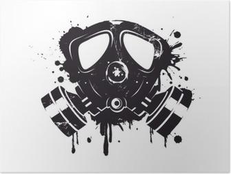 Poster Gasmaske Graffiti