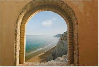 Poster Gebogen venster op het kustlandschap van een baai