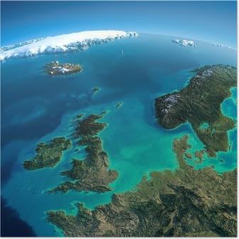 Poster Gedetailleerde Aarde. Verenigd Koninkrijk en de Noordzee