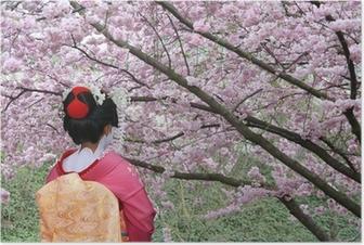 Geisha and blooming Sakura tree Poster