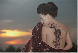 Poster Geisha avec tatouage de dragon
