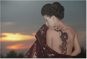 Geisha with dragon tattoo Poster