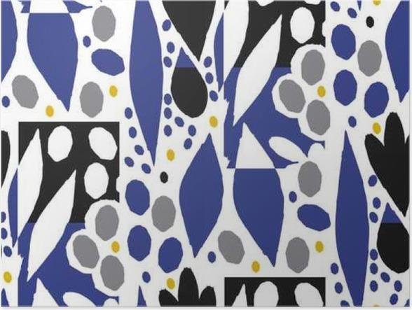 Behang Kinderkamer Scandinavisch : Poster geïsoleerde sier naadloze patroon met abstracte bloemen