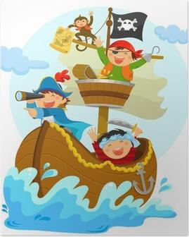 Poster Gelukkig piraten varen in hun schip