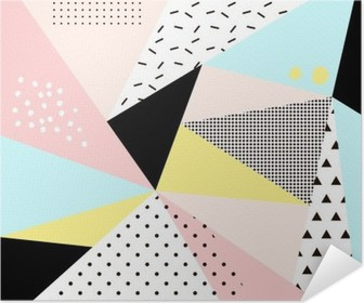 Geometric memphis background.Retro design for invitation, business card, poster or banner. Poster