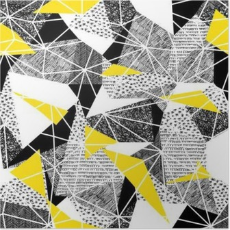 Poster Geometrische naadloze patroon in retro stijl. Vintage background.Tr