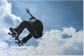 Poster Gestemd blauw maanlicht skateboarden abstract