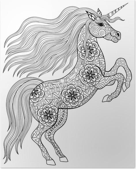 Volwassen Kleurplaten Paarden Poster Getrokken Magic Unicorn Voor Volwassen Anti Stress