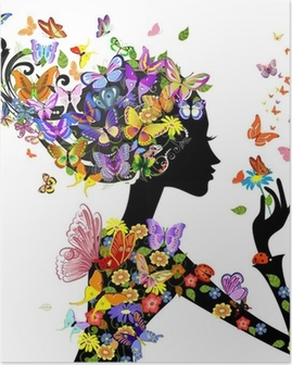 girl fashion flowers with butterflies Poster