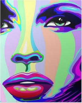 Girl's Portrait Psychedelic Rainbow-Viso Ragazza Psychedelico Poster