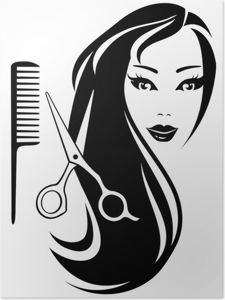 Girl with black long hair and scissors and comb poster