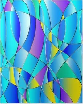 Poster Glas in lood textuur, blauwe tint, achtergrond vector