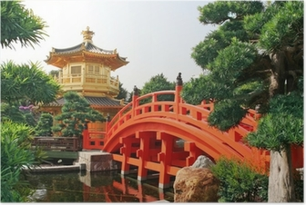 Gold pavilion in Chinese garden Poster