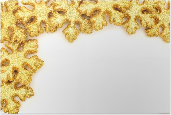 golden christmas border of shiny snowflake decorations poster