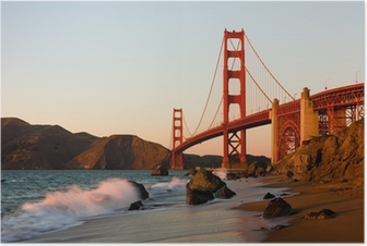 Poster Golden Gate Bridge in San Francisco bij zonsondergang