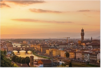 Golden sunset over the river Arno, Florence, Italy Poster
