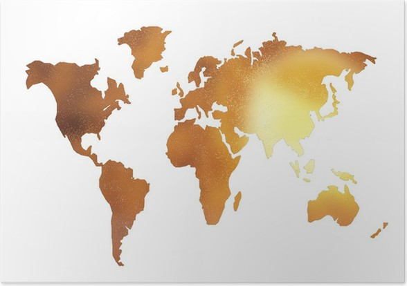 Golden World Map Silhouette Isolated On White Poster Pixers We - World map silhouette poster
