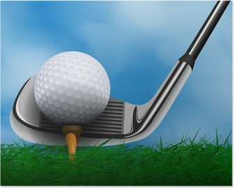 Golf ball and club in front of grass Poster