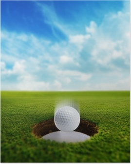 Golf Ball falling into hole Poster