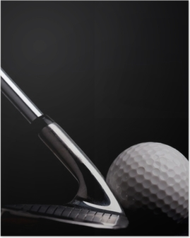 golf club with ball on black background Poster