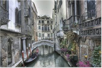 Poster Gondel, Palazzi und Bruecke, Venedig, Italien