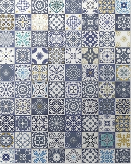 Gorgeous floral patchwork design. Colorful Moroccan or Mediterranean square tiles, tribal ornaments. For wallpaper print, pattern fills, web background, surface textures. Indigo blue white teal Poster
