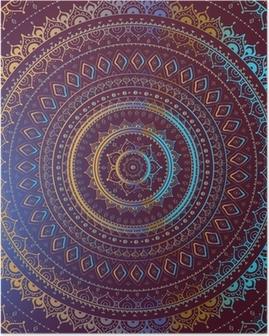 Poster Goud Mandala. Indiase decoratief patroon.