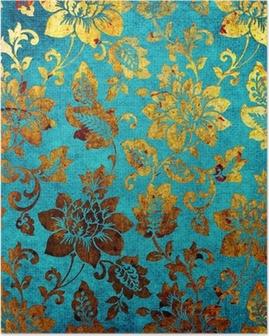 Poster Gouden-blauwe vintage achtergrond