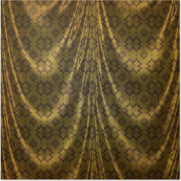 Poster Gouden oosterse klassiek ontwerp op stof gordijnen • Pixers ...