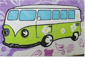 Graffiti bus hippy. Poster