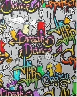 Graffiti characters seamless pattern Poster