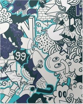 Graffiti colorful seamless pattern Poster
