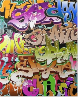Poster Graffiti naadloze achtergrond. Stedelijke kunst textuur