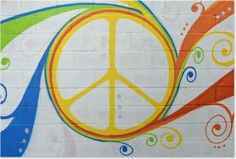 Graffiti simbolo hippy. Poster