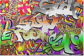 Graffiti urban art seamless background Poster