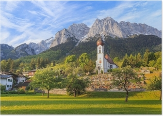 Grainau village and Zugspitze top of Germany Poster