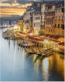 Póster Grand Canal en la noche, Venecia