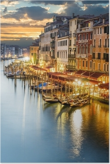 Grand Canal in Venice by night Poster