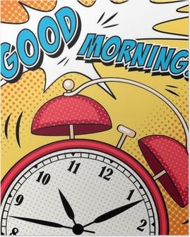 Poster Grappige illustratie met wekker in pop art stijl