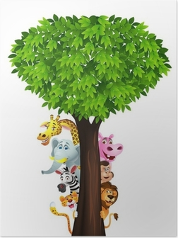 Poster Grappige safari dieren cartoon