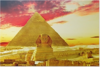 Great Pyramid of Pharaoh Khufu, located at Giza and the Sphinx. Poster
