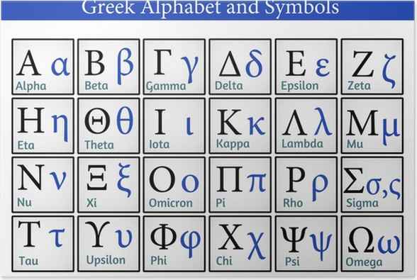 Greek Alphabet And Symbols Poster Pixers We Live To Change