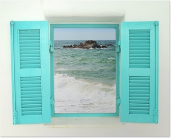 Greek style window with sea view Poster