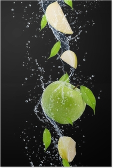 Green apples in water splash, isolated on black background Poster
