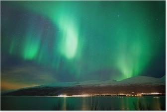 Green aurora borealis dancing in the sky Poster