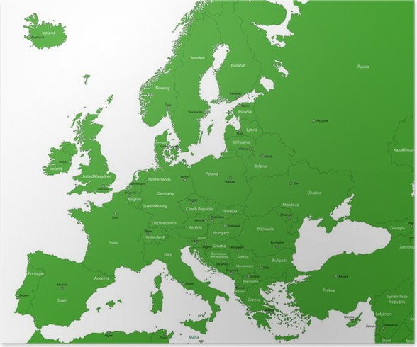 green europe map with countries and capital cities poster