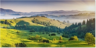 Green hills and mountains in the distance Poster