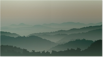 Green mountains in fog Poster