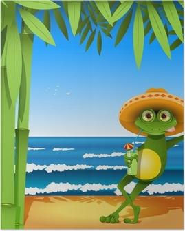 Poster Grenouille sur la plage