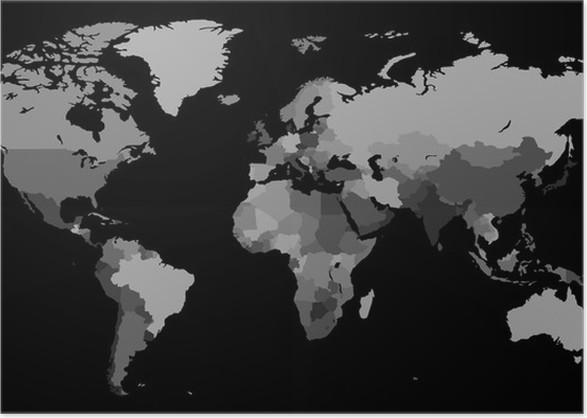 Greyscale world map on black background poster pixers we live greyscale world map on black background poster gumiabroncs Gallery
